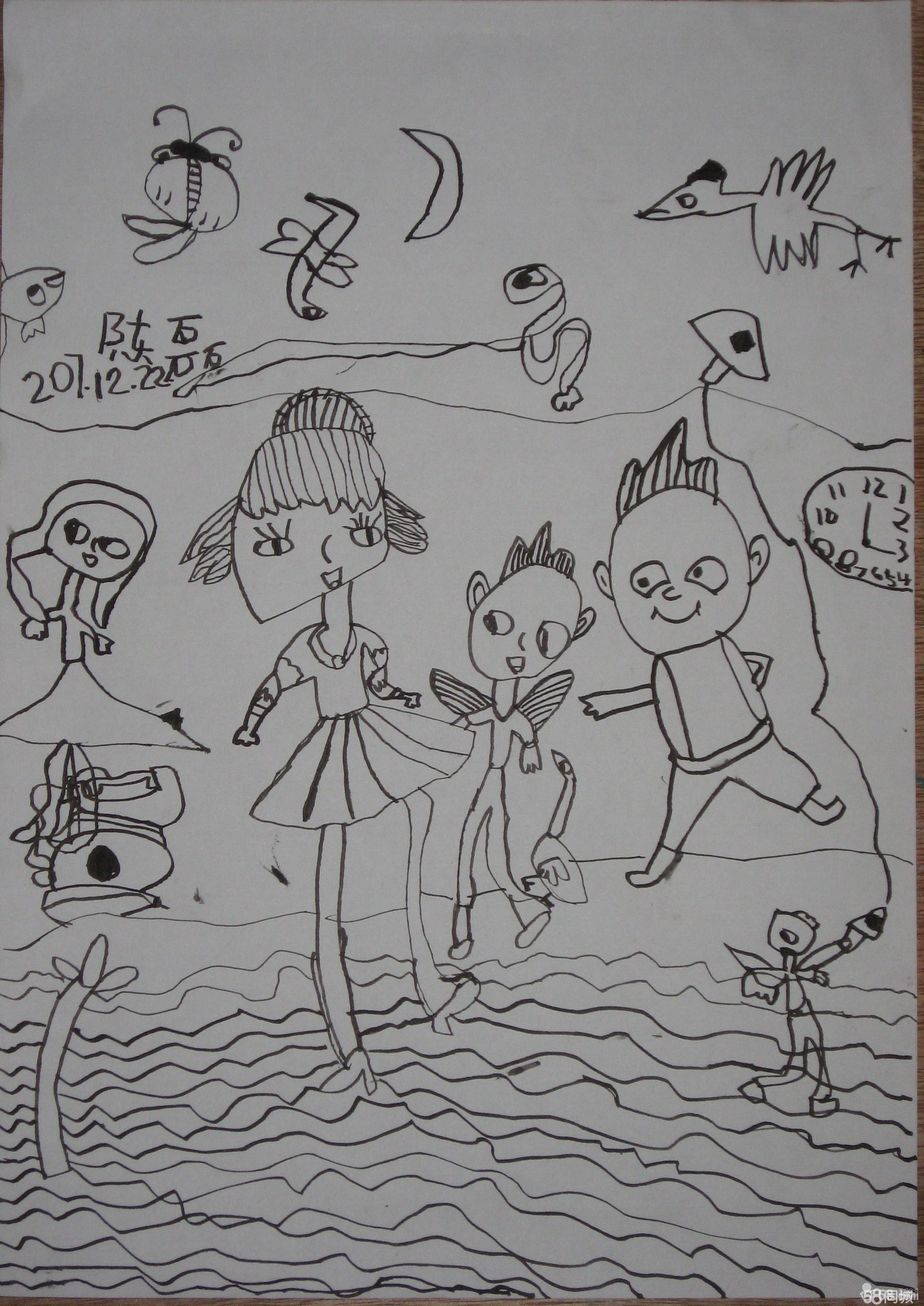 南海岛礁灯塔风景简笔画